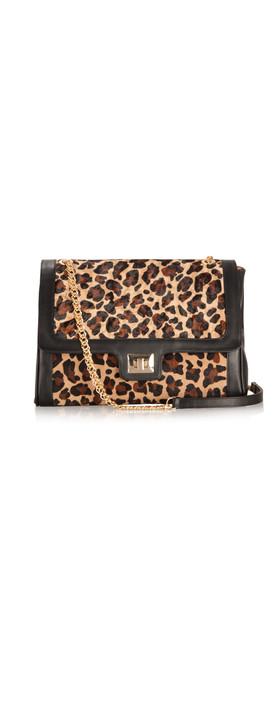 Sachelle Leopard Print Leather Bag Black