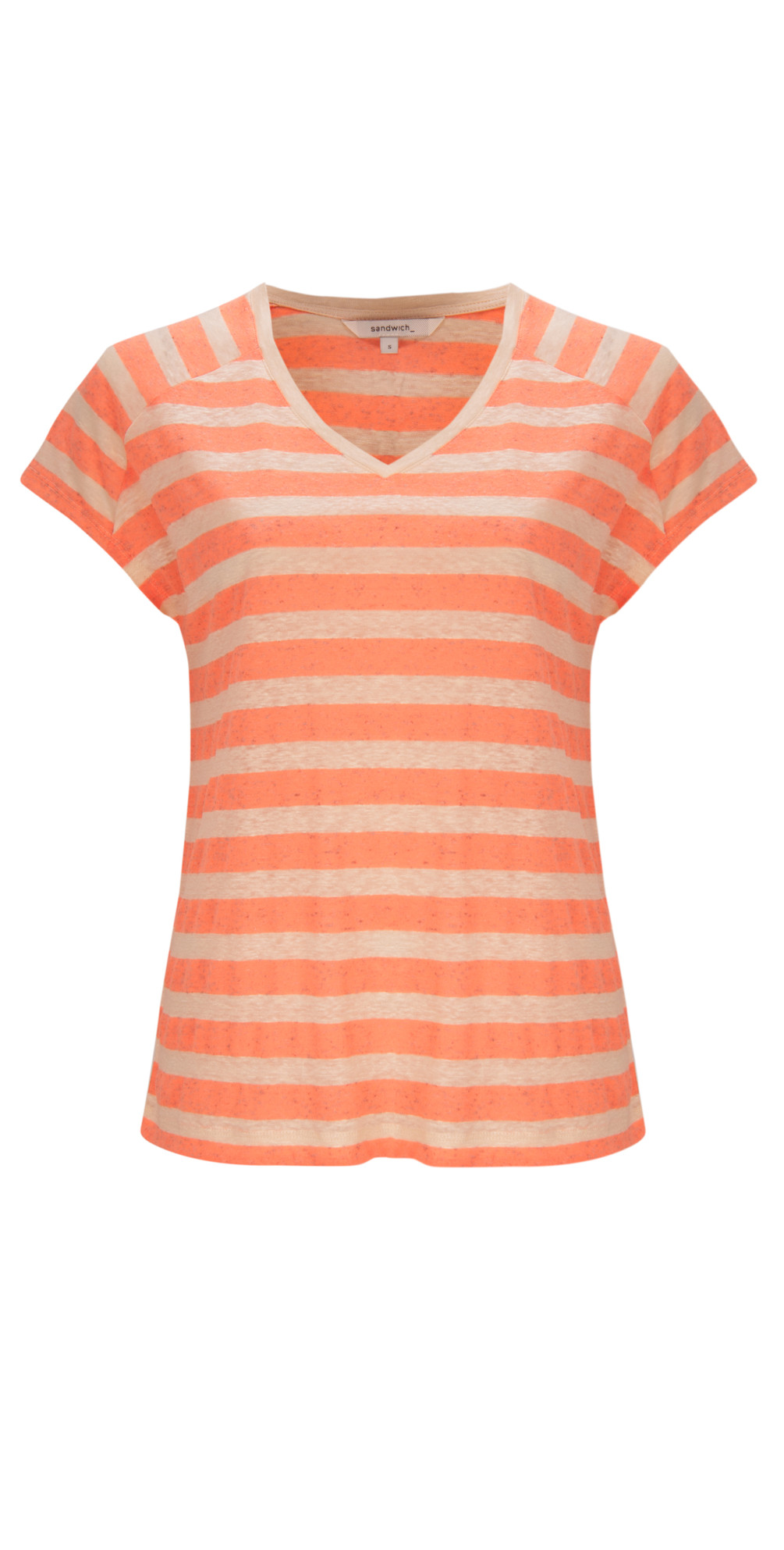 sandwich clothing single jersey stripe top in washed coral. Black Bedroom Furniture Sets. Home Design Ideas
