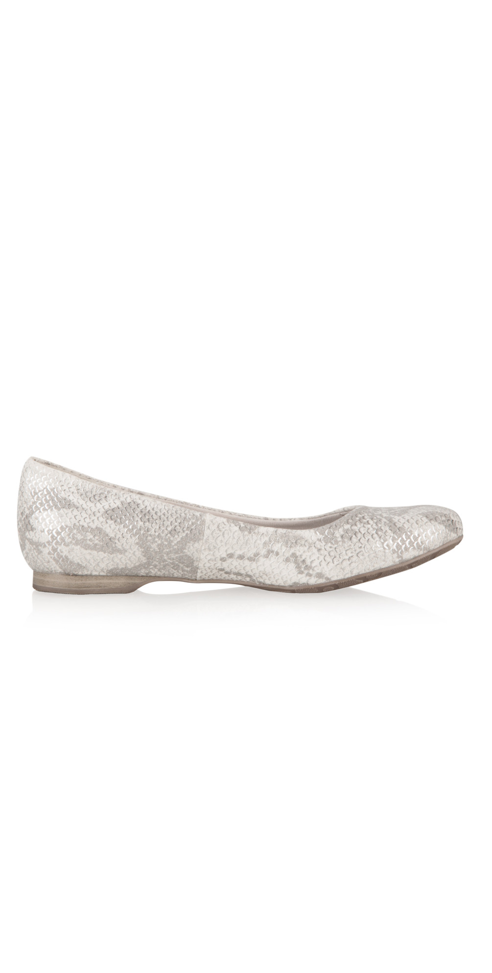 marco tozzi imit leather snakeskin ballet pump in off white. Black Bedroom Furniture Sets. Home Design Ideas