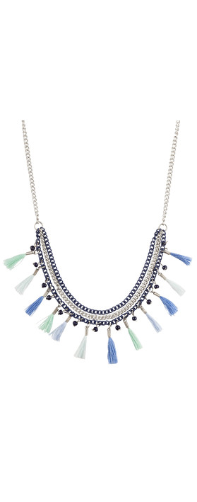 Sandwich Clothing Tasselled Necklace Lake Blue