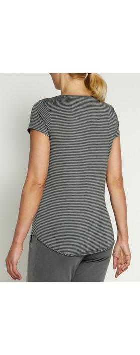 Sandwich Clothing Stripe Jersey Top Warm Grey
