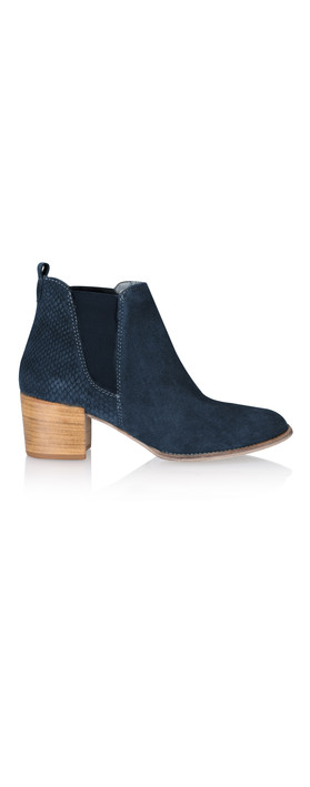 tamaris suede leather ankle boot in navy