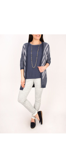 Sandwich Clothing Tape Knitting Cardigan  Mood Indigo