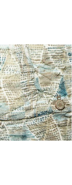 Sandwich Clothing Tribal Printed Crinkle Stretch Cardigan Blue Haze