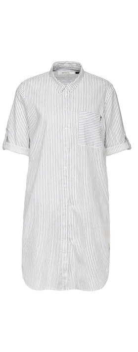 Sandwich Clothing Pin-Stripe Linen Blend Shirt Pure White