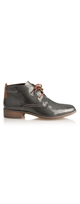marco tozzi patent lace shoe boot in pewter