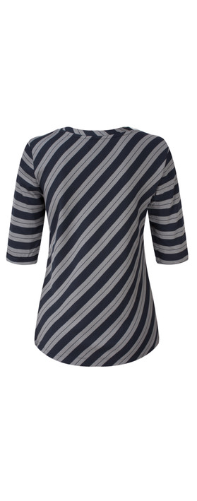 Sandwich Clothing Striped Viscose Jersey Top Blue Nights