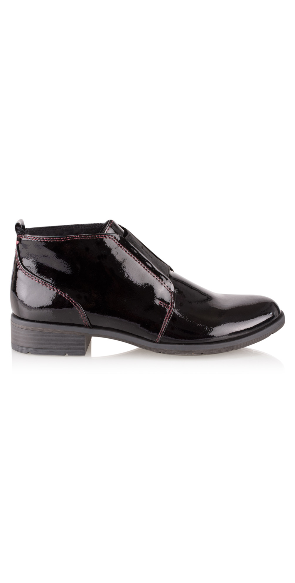 marco tozzi patent shoe boot in merlot