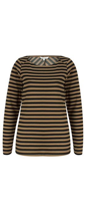 Sandwich Clothing Long Sleeve Striped Top Natural Camel
