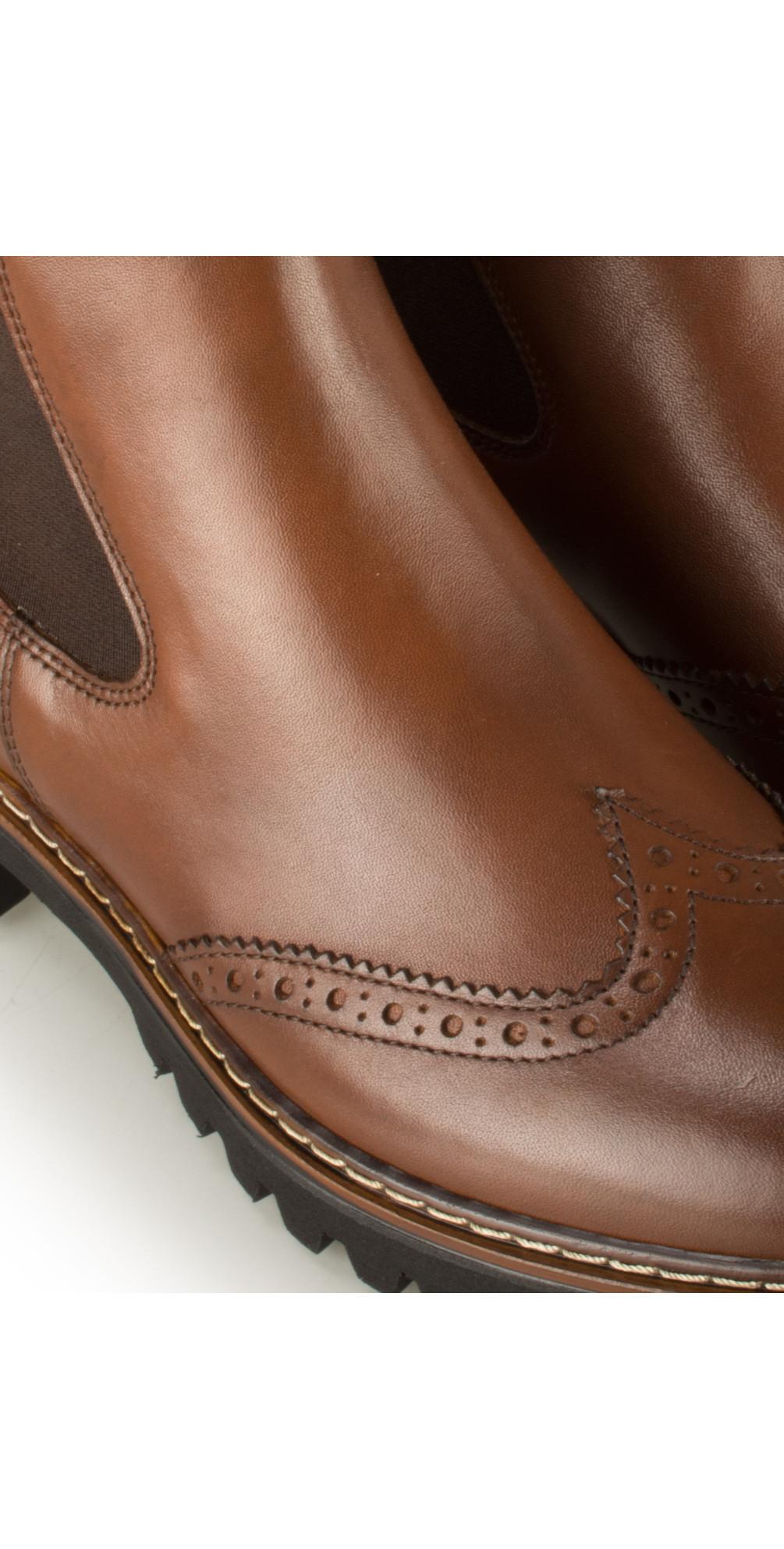 tamaris urban brogue chelsea boot in cognac. Black Bedroom Furniture Sets. Home Design Ideas