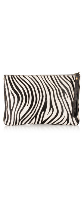Pure White Paola Animali Clutch Zebra