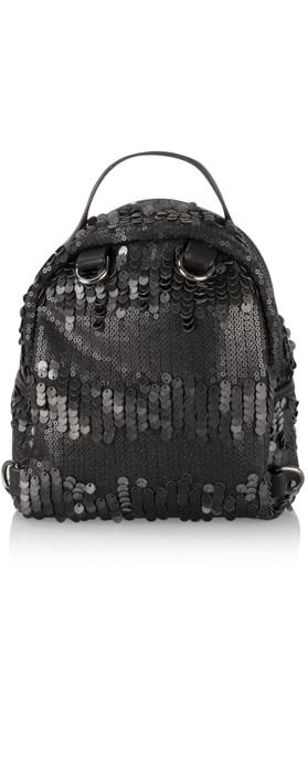 AlexMax Cara Matt Sequin Mini Backpack Black