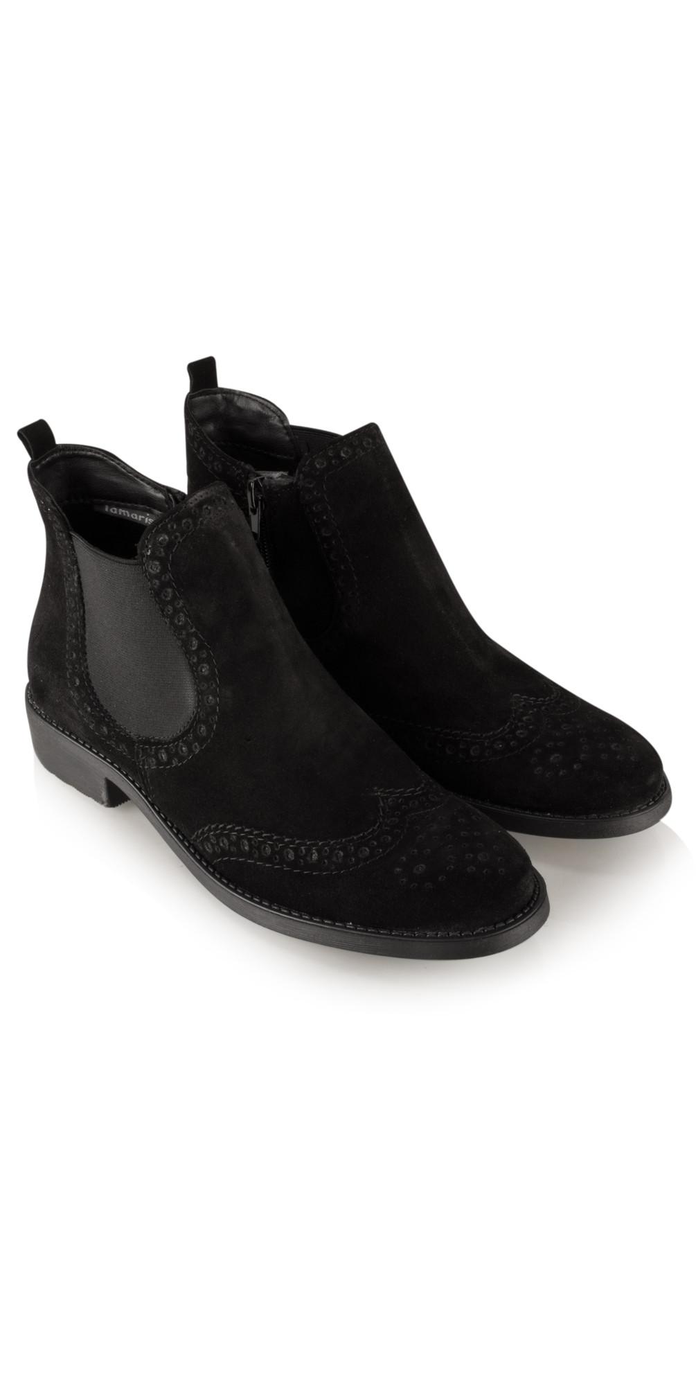 tamaris brogue chelsea boot in black. Black Bedroom Furniture Sets. Home Design Ideas