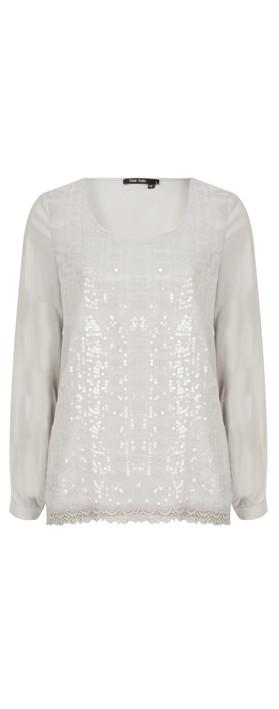 Marc Aurel Luxe Silk Jersey Top Light Grey
