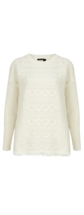 Marc Aurel Luxe Patterned Knit Jumper Cream
