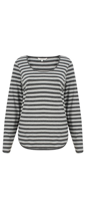 Sandwich Clothing Striped Jersey Top Grey Pebble