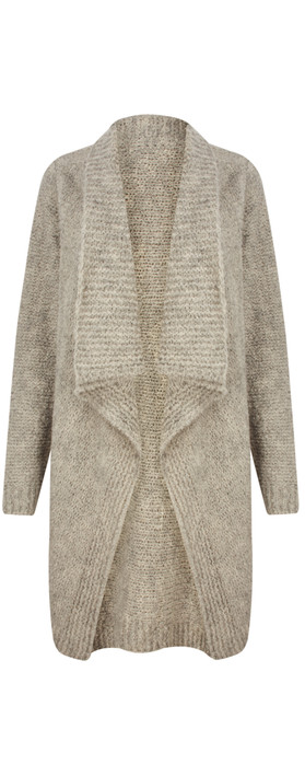 TOC  Carrie Boucle Knit Waterfall Cardi Mocha