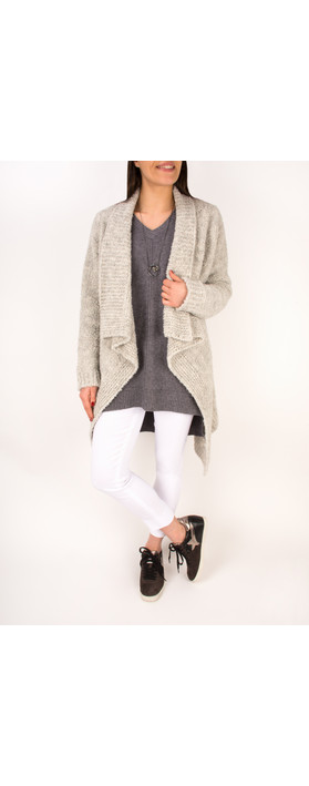 TOC  Carrie Boucle Knit Waterfall Cardi Silver