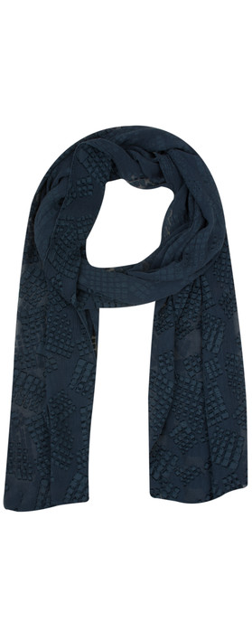 Grizas Silk Devore Check Scarf 421 Navy