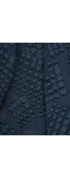 Grizas Silk Devore Check Scarf 421 Navy