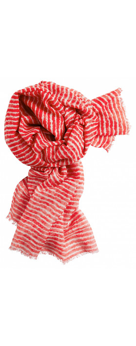 Sandwich Clothing Silk & Wool Mix Stripe Scarf True Red