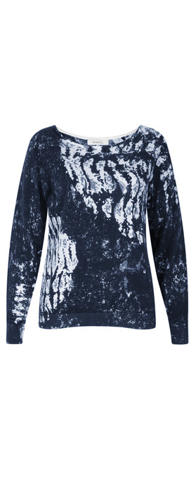 Sandwich Clothing Abstract Printed Cotton Jumper Navy