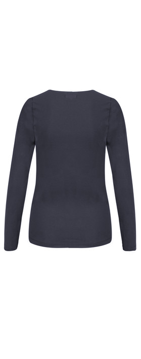 Sandwich Clothing Essentials Long Sleeve Stretch Cotton Jersey Top Navy