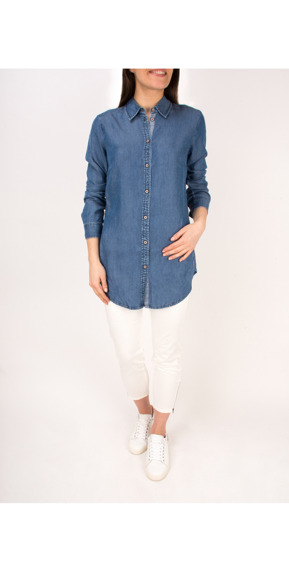 Denim Wash Long Sleeve Blouse main image