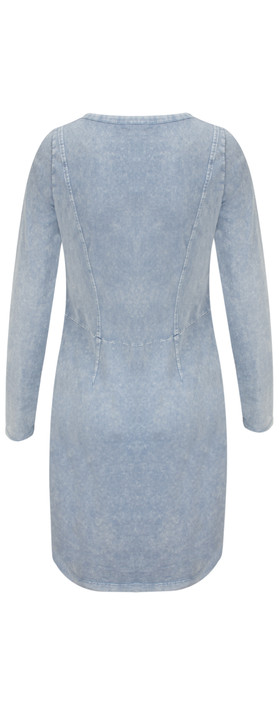 Sandwich Clothing Long Sleeve Jersey Dress with Split Hem Detail Washed Blue