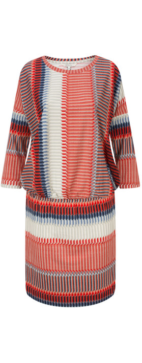 Sandwich Clothing Striped Jersey Dress With Gathered Waist True Red