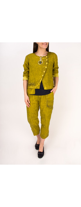 Grizas Linen Seam Detail Easyfit 7/8 Trouser 329 Dirty Lime