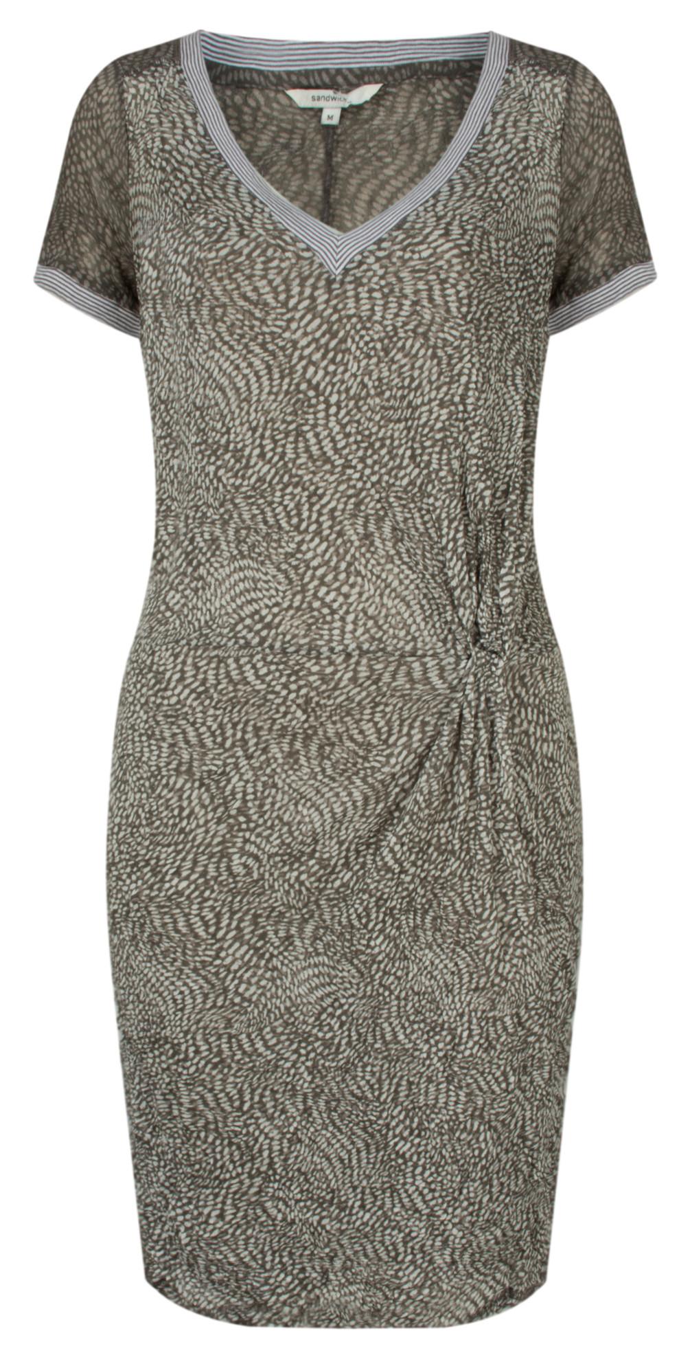 Dotted Print Short Sleeve Crinkle Dress main image