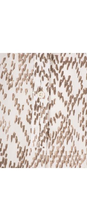 Sandwich Clothing Chevron Pattern Long Sleeve Blouse Pure White