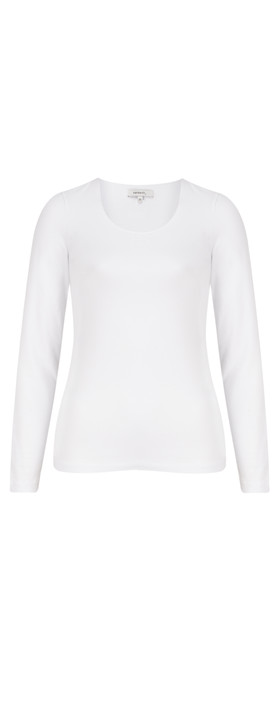 Sandwich Clothing Essentials Long Sleeve Stretch Cotton Jersey Top Pure White