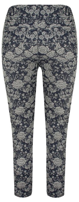 Robell Trousers Bella 09 Rose Print 7/8 Cropped Trouser Navy