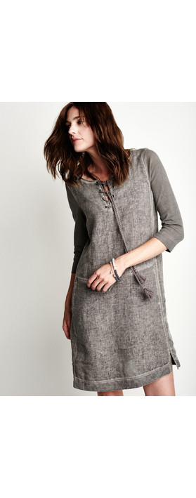 Sandwich Clothing Linen Tie Neck Dress Dark Wood