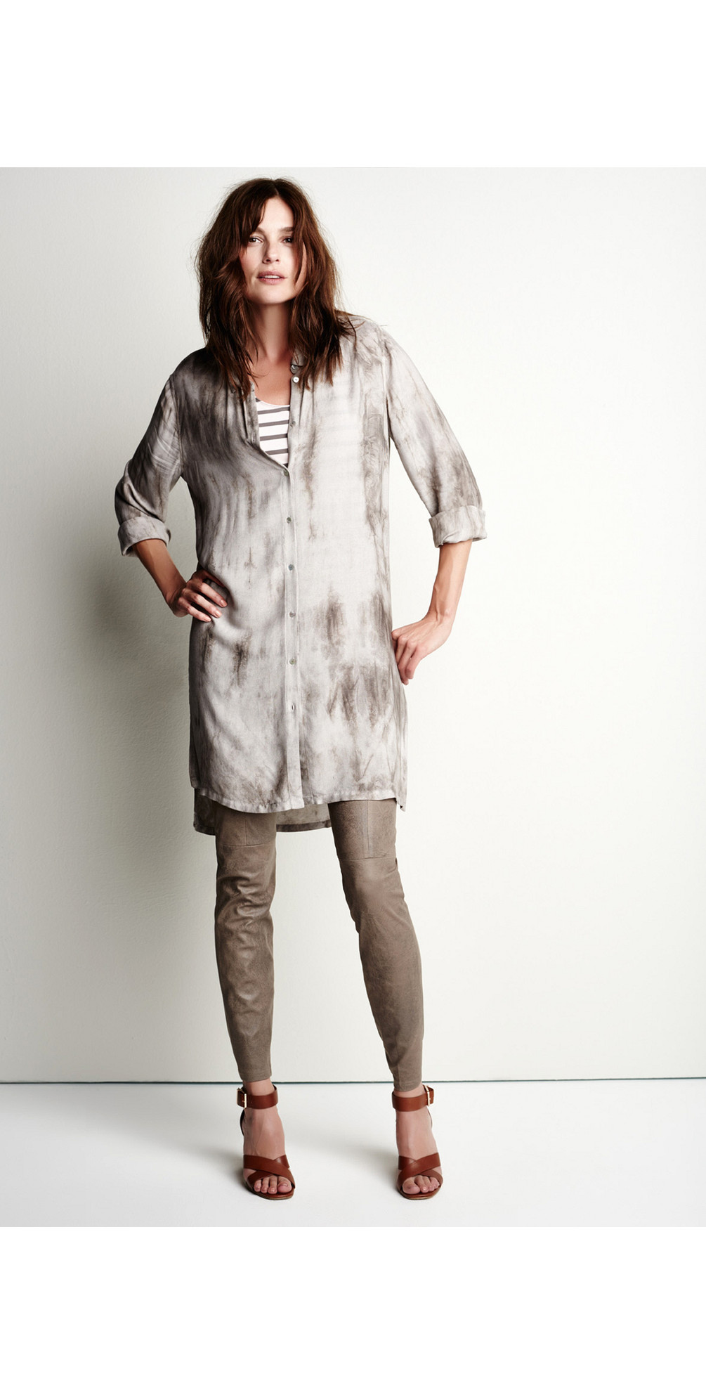 Tie Dye Long Sleeve Shirt Dress main image