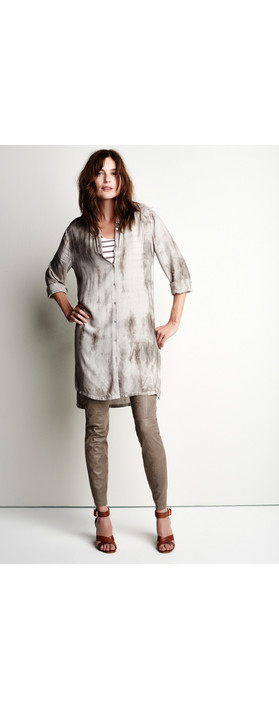 Sandwich Clothing Tie Dye Long Sleeve Shirt Dress Pebble Sand