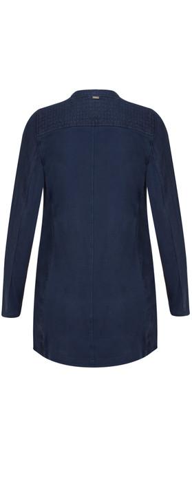 Sandwich Clothing Longline Open Front Linen Jacket Navy