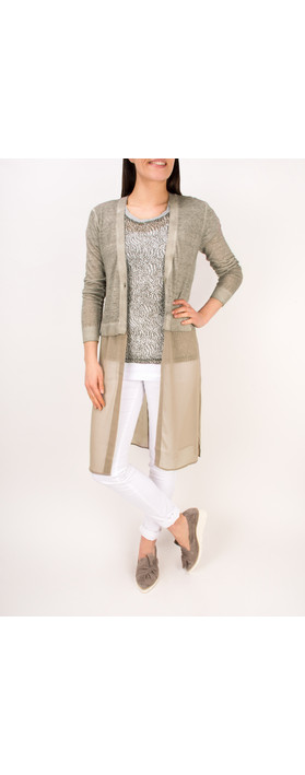 Sandwich Clothing Long Sleeve Linen Longline Cardigan Pebble Sand