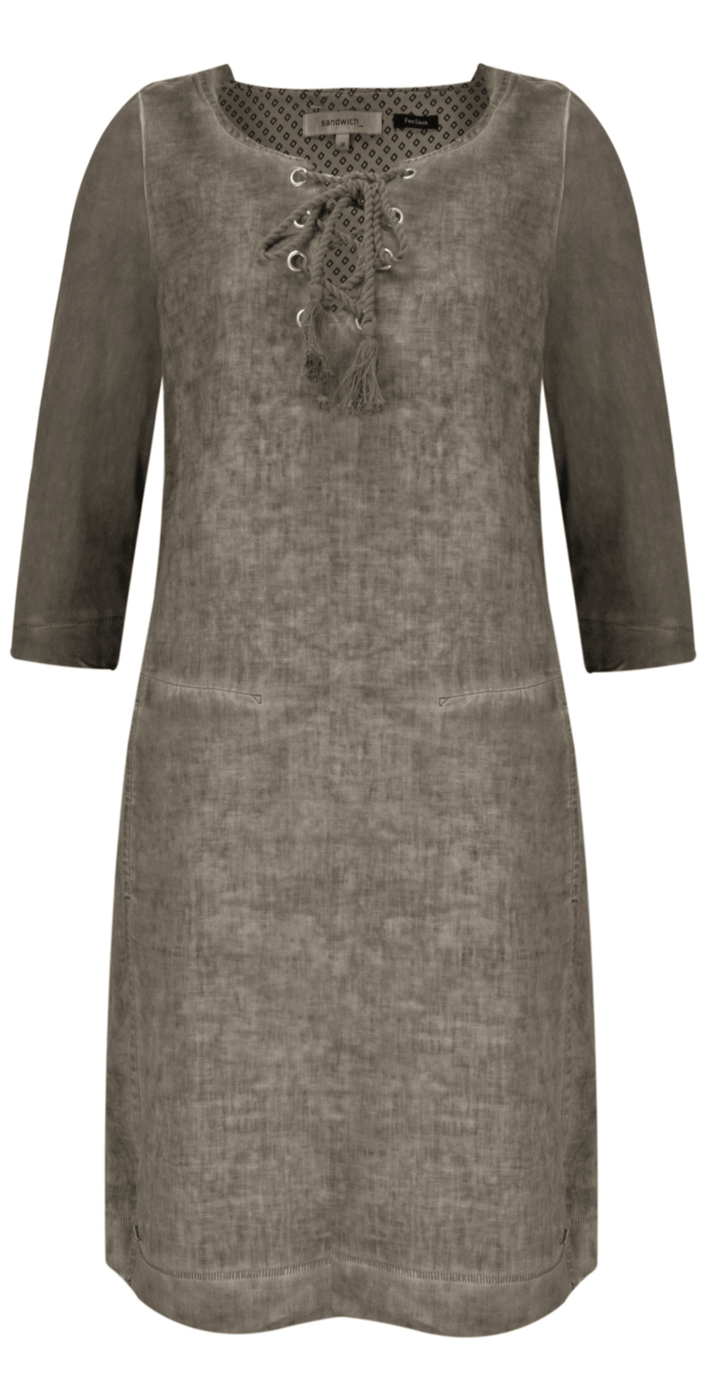 Linen Tie Neck Dress main image