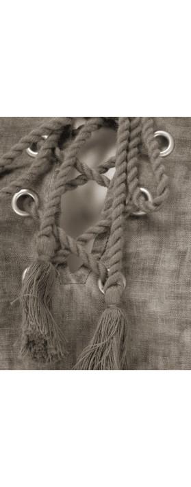 Sandwich Clothing Linen Tie Neck Dress Dark Wood