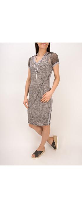 Sandwich Clothing Dotted Print Short Sleeve Crinkle Dress Dark Wood