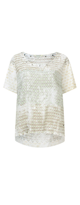 Sandwich Clothing Diamond Check Short Sleeve Blouse Washed Jade
