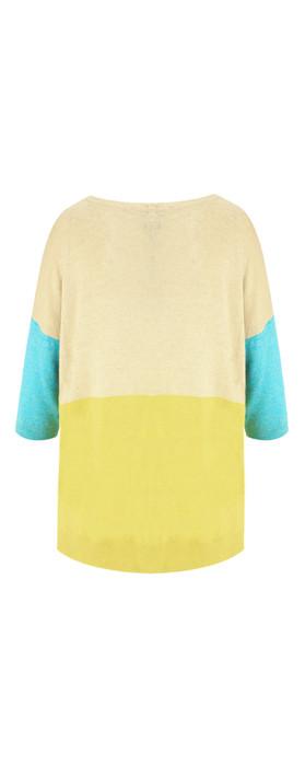 Sandwich Clothing Linen Mix Block Colour Jumper Faded Sand
