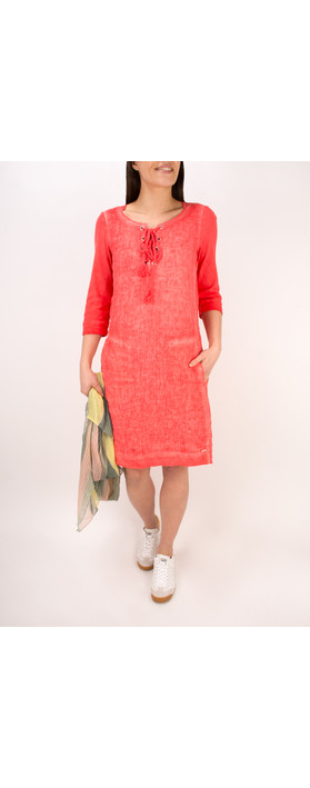 Sandwich Clothing Linen Tie Neck Dress Pink Rose