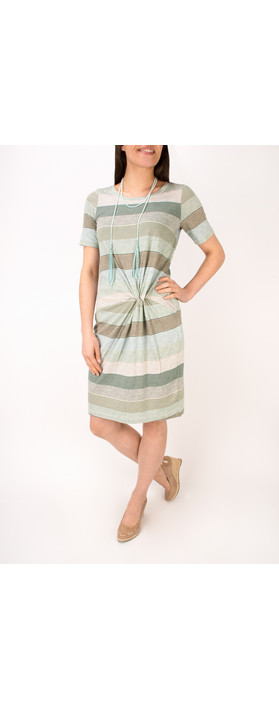Sandwich Clothing Striped Waist Detail Jersey Dress Washed Jade