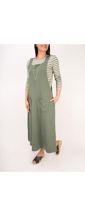 Mama B Matisse Pinafore Dress Salvia-dark sage green