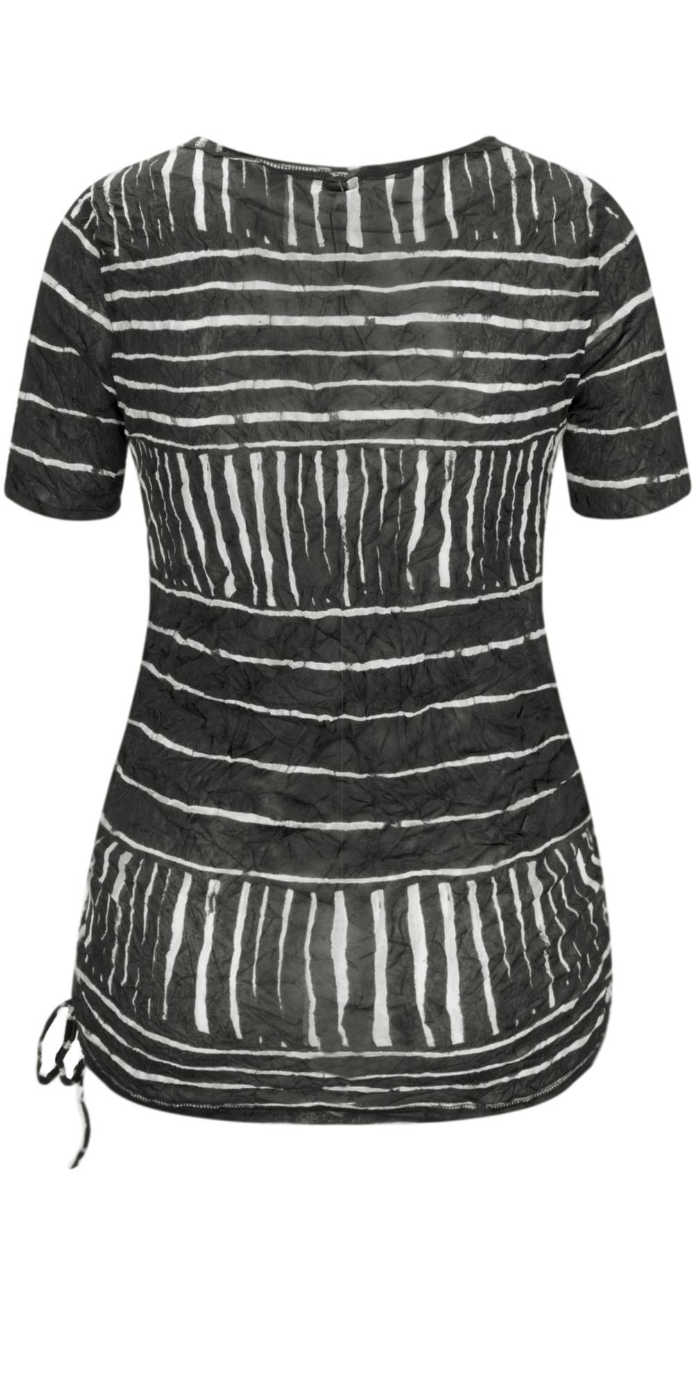 Line Print Drawstring Hem Top main image