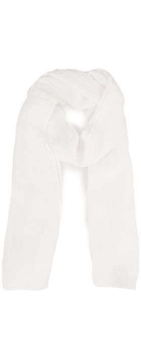 Grizas Silk and Cotton Check Scarf Ivory